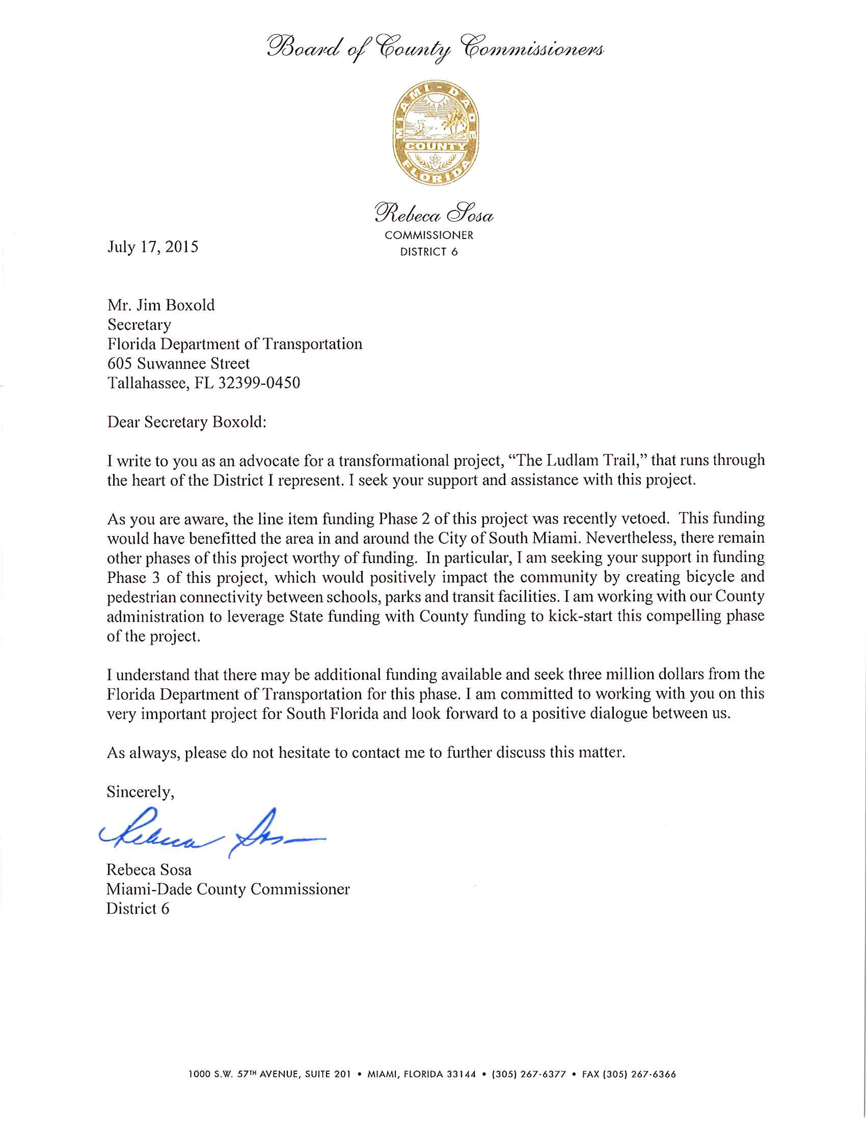 Commissioner sosa submits letter in support of ludlam for Letter of support template grant