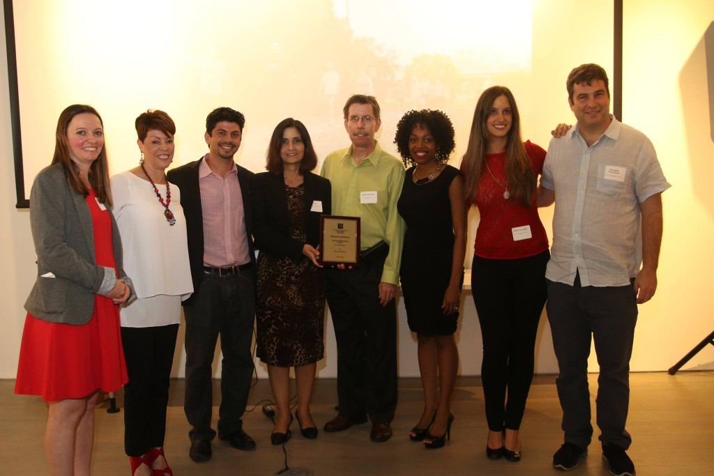 (From left to right) Maeve Desmond and Silvia Vargas of Gold Coast APA; Eric Katz of Street Plans Collaborative, Ebru Ozer of Landscape DE, Mark Heinicke of Miami-Dade County Parks, Gloria Florexil of Florida International University, Diana Jaramillo of Miami Bat Squad and resident of the trail, and Douglas Thompson of Landscape DE)