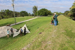 Scouts learnig new skills along the trail